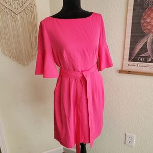 Eliza J Neon Pink Sheath Dress Bell Sleeves Size 6